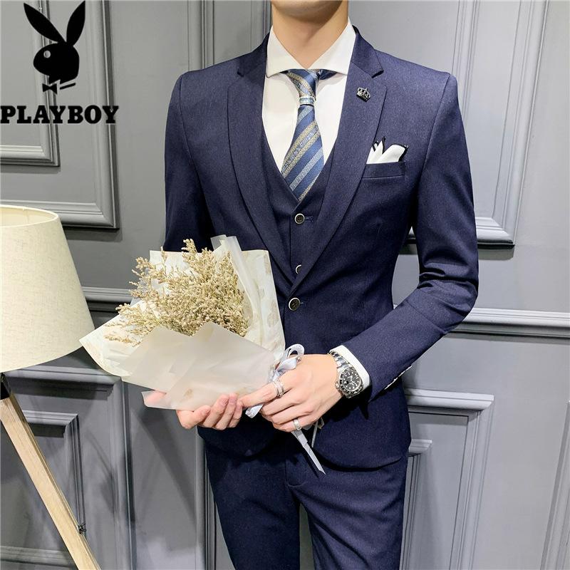 602885885098花花公子新款男式纯色商务西服套装三件套小西装修身青年男装结婚