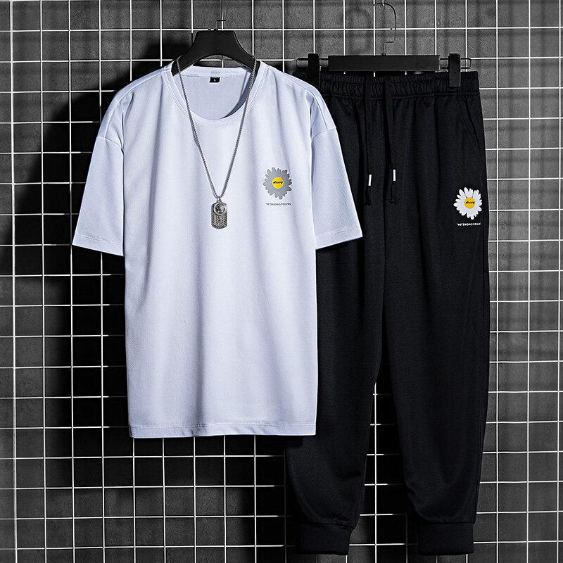 T-2063夏季男士短袖t恤套装半袖休闲韩版潮流青少年帅气学生棒球服