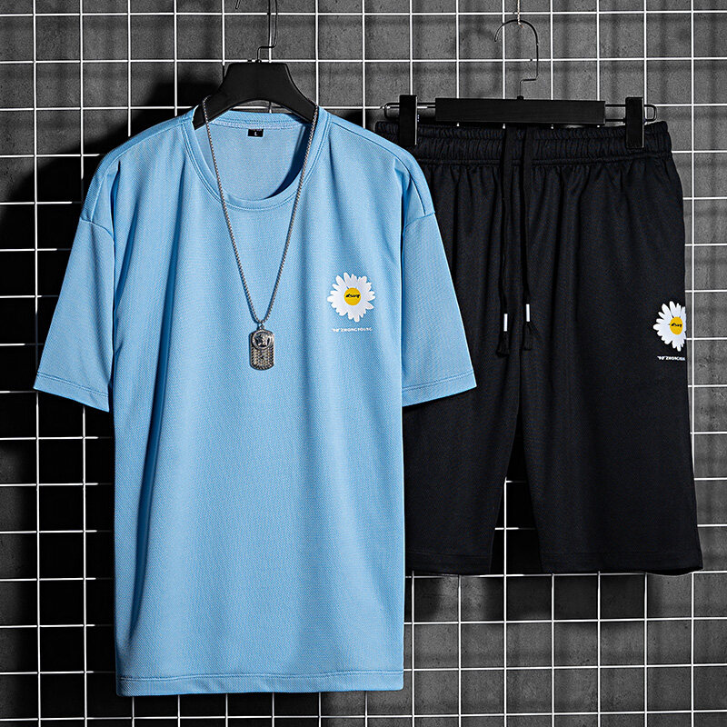 T-2066夏季新款男士韩版修身套装青少年T恤运动男装学生短袖潮流两件套