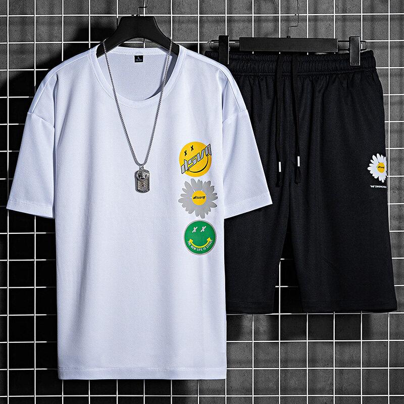 T-2067夏季青年男士时尚休闲两件套短袖t恤五分短裤潮流个性印花打底衫