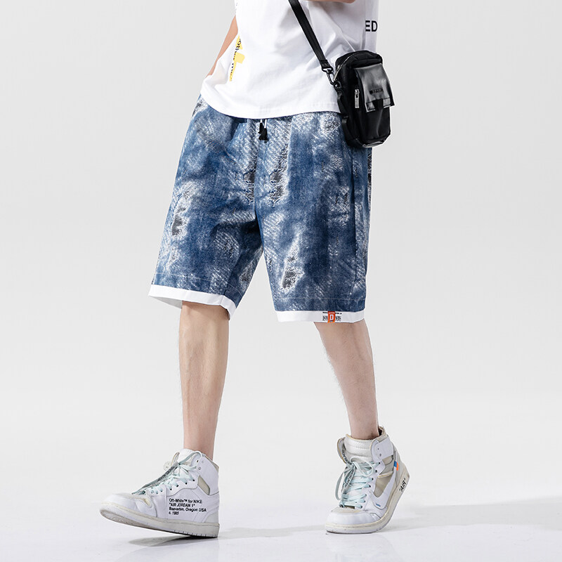 K-729夏季潮流男士短裤休闲裤个性印花运动风五分裤新款宽松青少年裤子