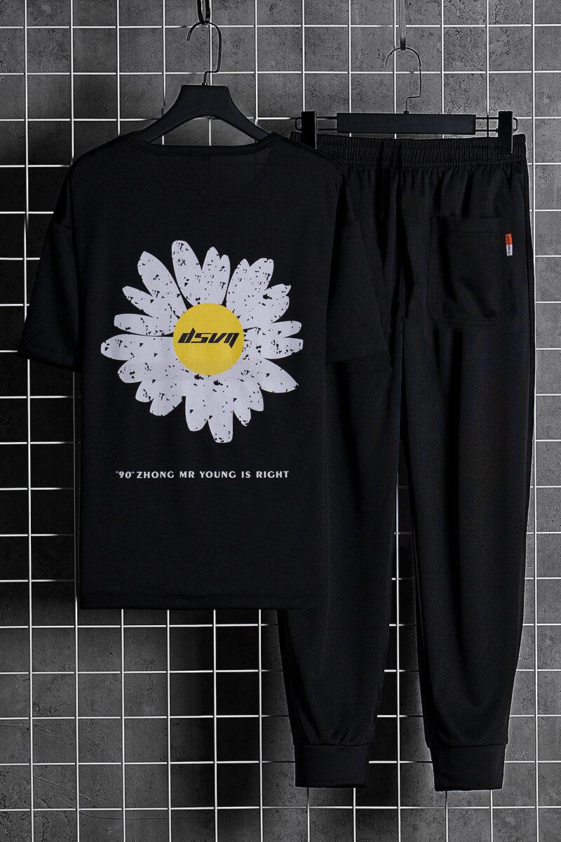 T-2063【两件套】男士夏季新品T恤2件装小雏菊印花套装青年运动T恤