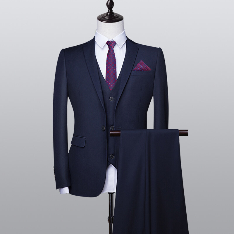 28西服套装男士三件套韩版修身小西装职业正装伴郎服装新郎结婚礼服