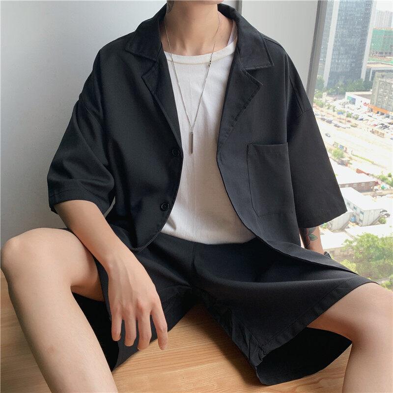 男士休闲套装夏季原宿风短袖西装外套青少年潮流宽松五分短裤一套