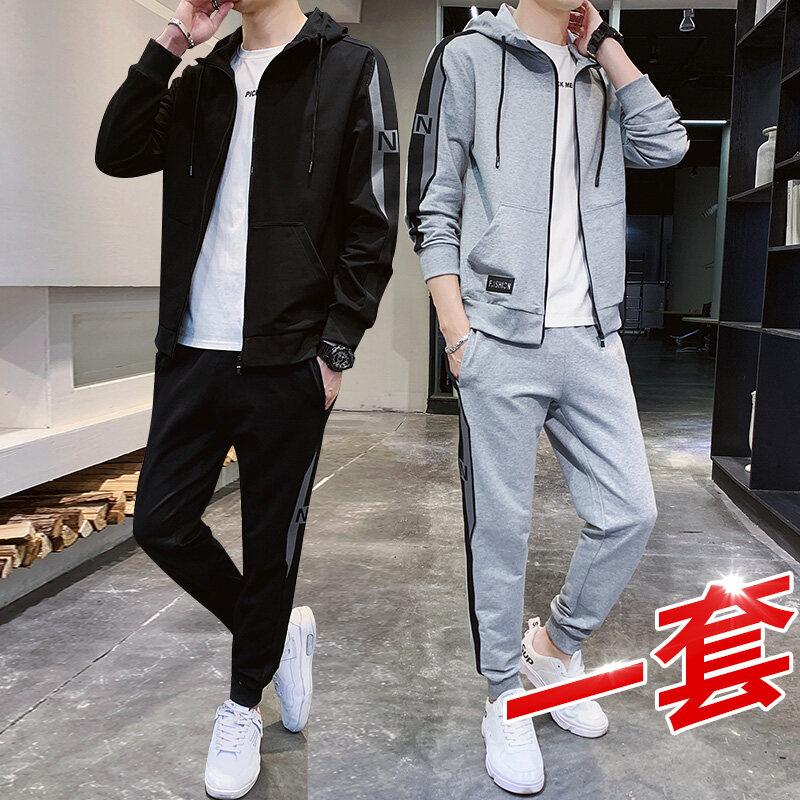 3387跨境大卫衣男秋季团购套装2020新款男士休闲裤三条杠运动套装