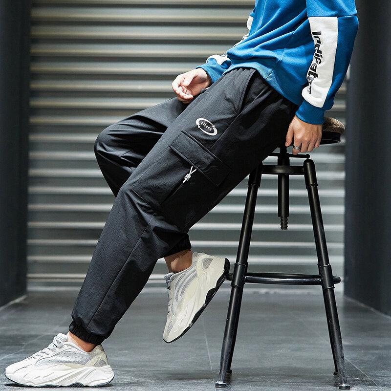 K823工装裤男秋季休闲裤宽松直筒裤潮流韩版学生长裤子青少年百搭裤子