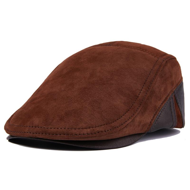 X702皮帽男春秋潮真皮贝雷帽女头层牛皮帽子前进帽体闲中老年P70