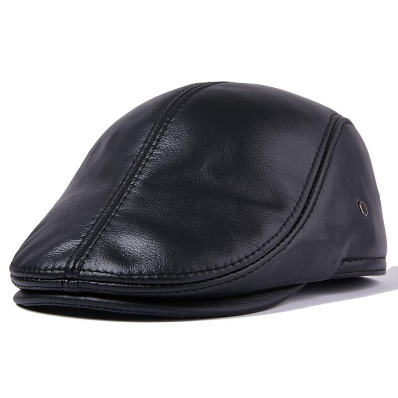 X701皮帽男春秋潮真皮贝雷帽女牛皮帽子前进帽体闲中老年P50