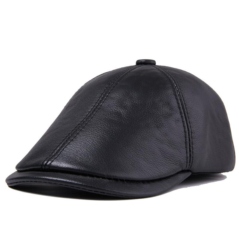 N803休闲真皮帽子男士中老年冬季牛皮保暖厚老人帽户外P70
