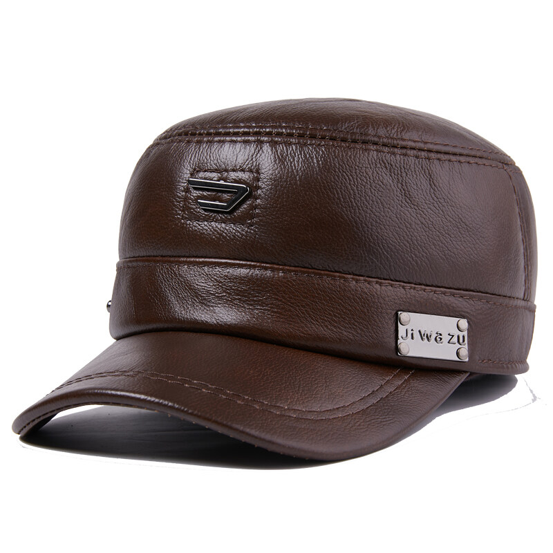 N805休闲真皮帽子男士中老年冬季牛皮保暖厚老人帽户外P72