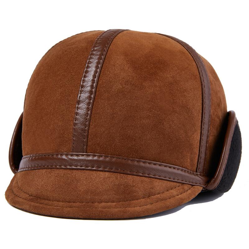 Y707休闲真皮帽子男士中老年冬季羊皮加毛保暖厚时尚帽户外P72