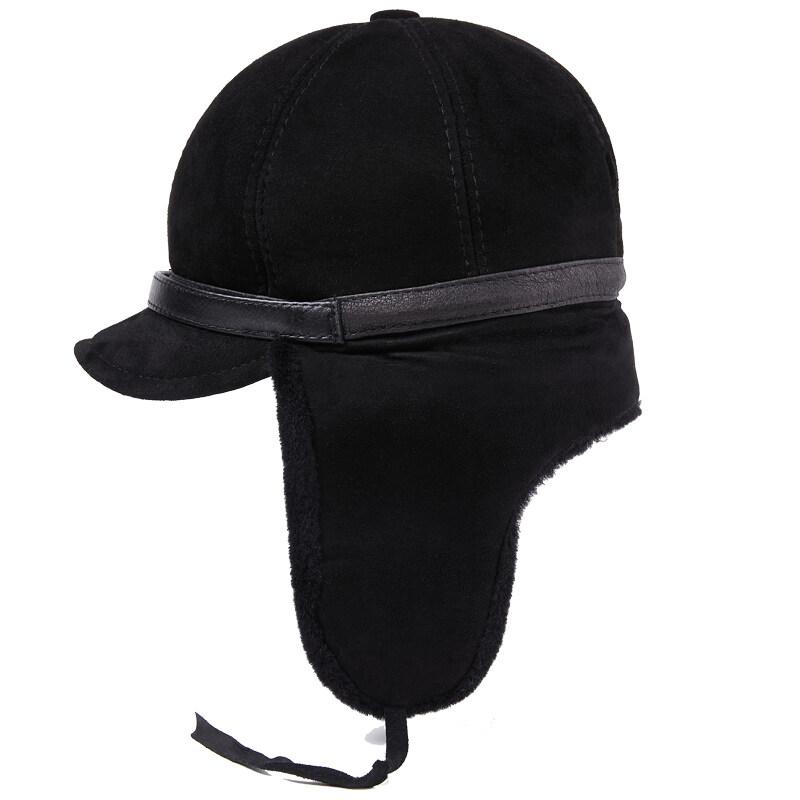 T806休闲真皮帽子男士中老年冬季羊皮毛一体保暖厚时尚帽户外P190