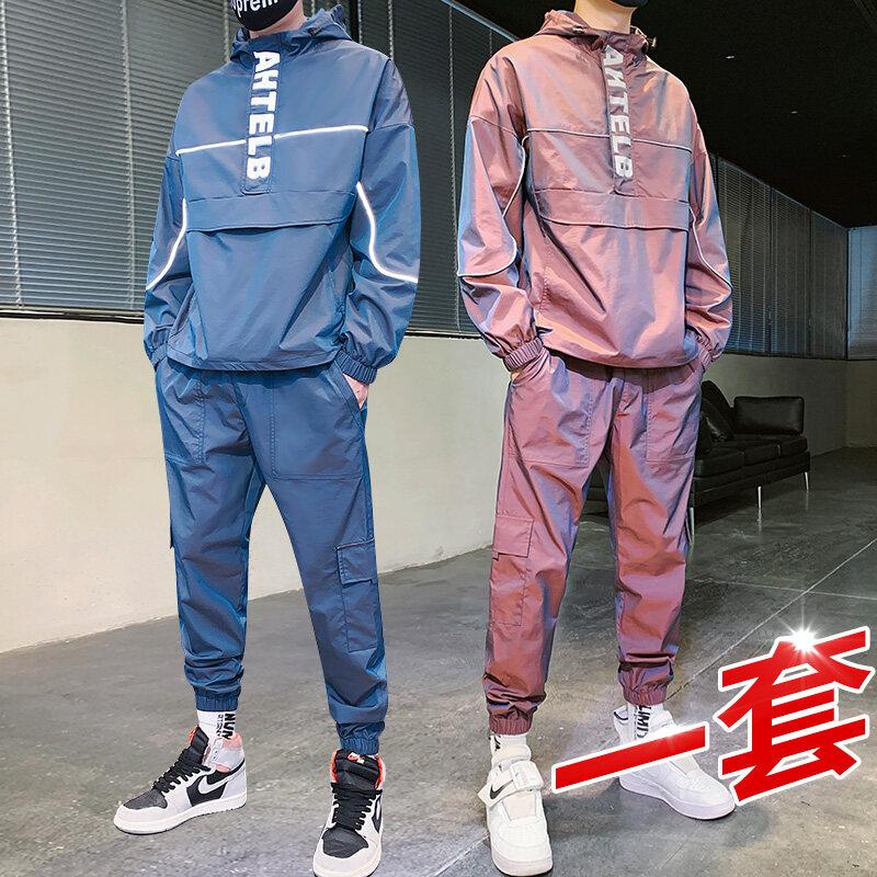 303跨境速卖通男装变色龙卫衣套装男 夹克裤子帅气潮流两件套