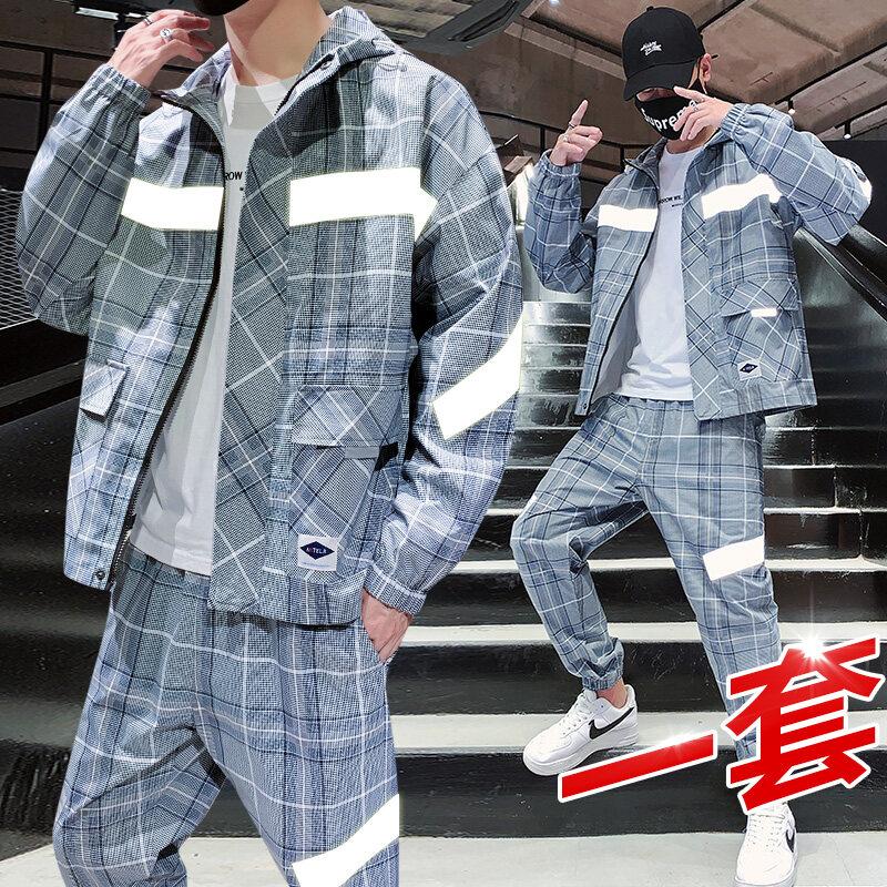 311春季新款美式休闲格子衬衫潮男宽松嘻哈街头百搭格纹工装衬衣套装