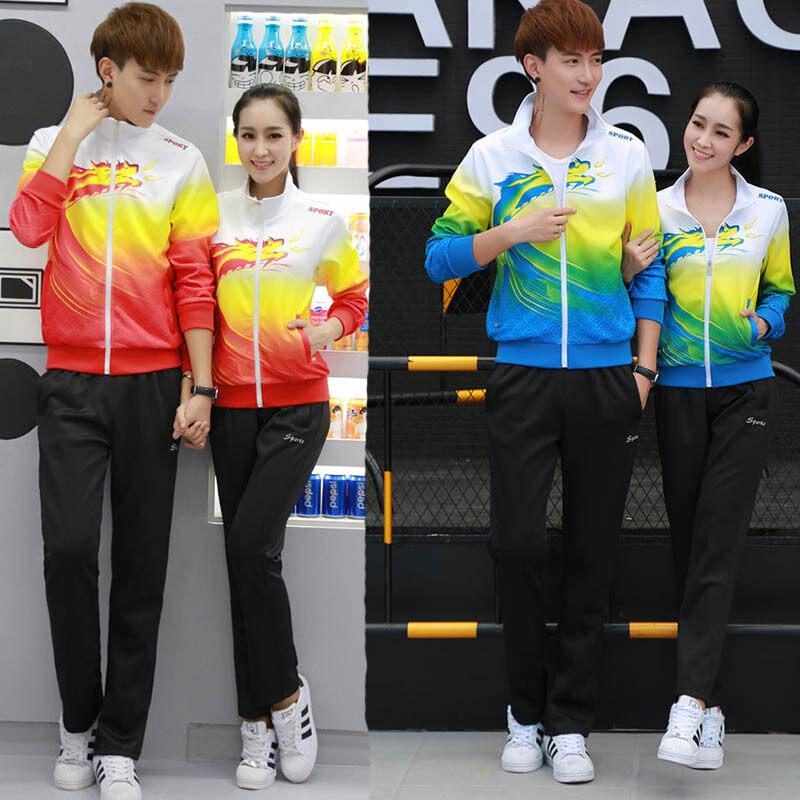 潮流行南韩广场舞跑步比赛体操户外出场班校服情侣男女卫衣休闲套装