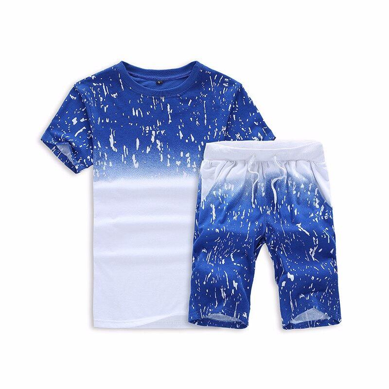 跨境专供2019新款夏季休闲运动套装男T恤短袖五分裤两件套男