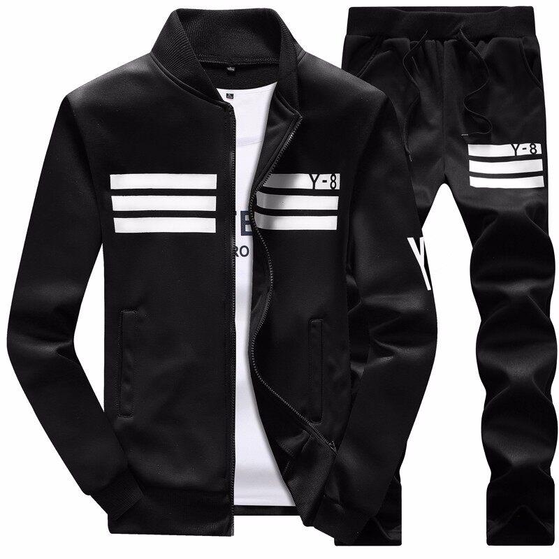跨境专供男士韩版休闲运动套装秋季长袖薄绒外套裤子两件套男装