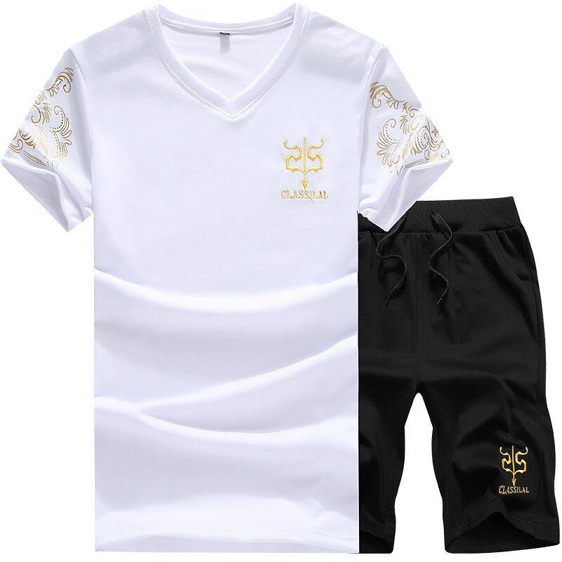 C07夏季新款刺绣圆领T恤打底衫短裤两件套男士套装 玛莎拉蒂