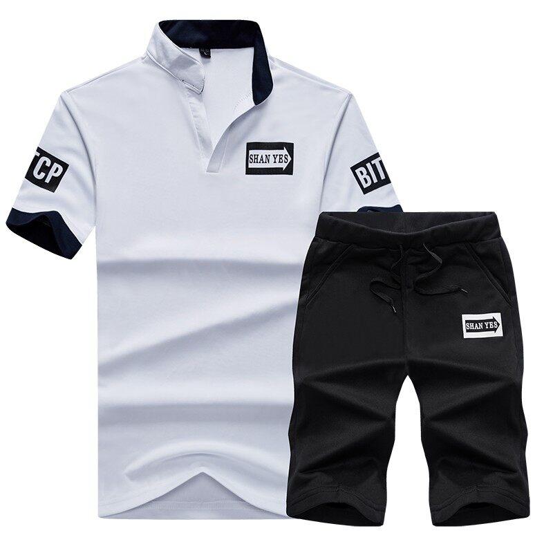 905夏季新款立领短袖T恤打底衫短裤男士套装