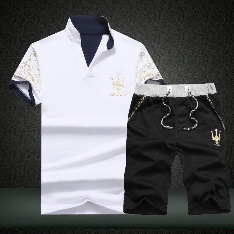D24夏季玛莎拉蒂立领T恤打底衫短裤两件套男士套装D24