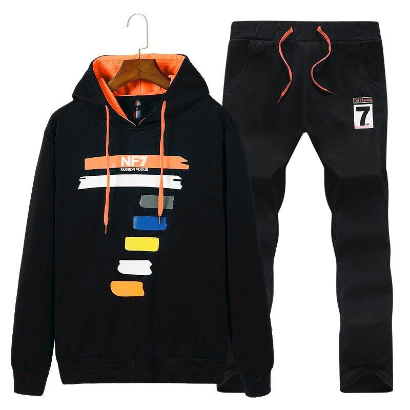 D77青少年秋季长袖T恤套装潮流韩版修身男装一套中学生秋装一身衣服