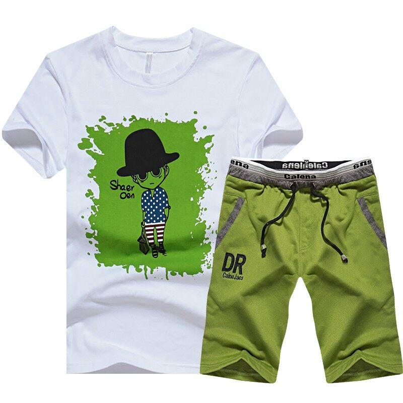 62082018新款夏季两件套装男士卡通印花休闲短袖t恤短裤一套衣服