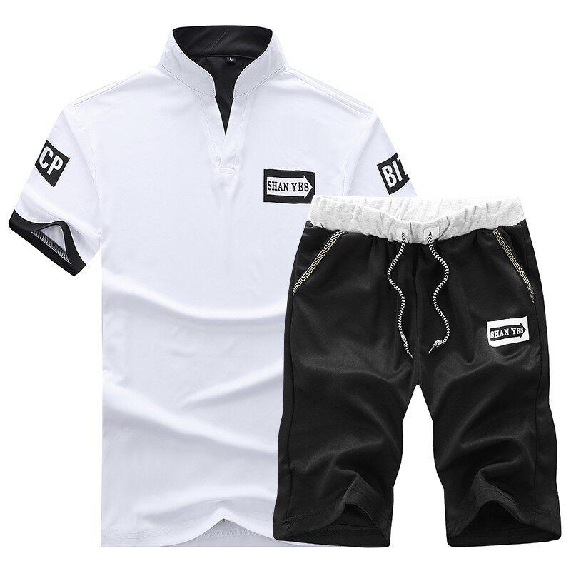t02夏季休闲男士青年学生休闲运动套装短袖短裤装