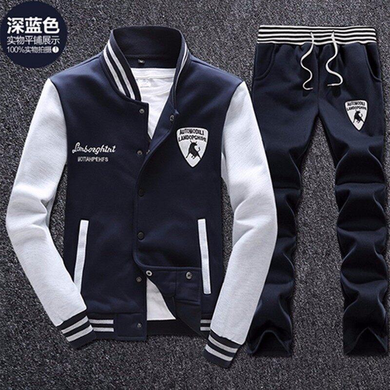 男圆领套头秋季2018新款韩版潮流男士休闲运动套装长袖两件套