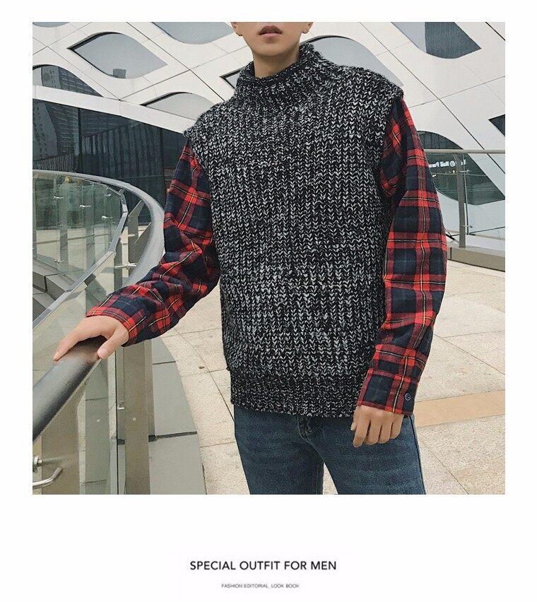 咏晨8321#假两件套头针织衫毛衣男