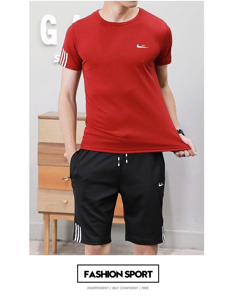 2018新款男装夏季男士短袖t恤休闲运动套装圆领半袖帅气一套学生m-7xl