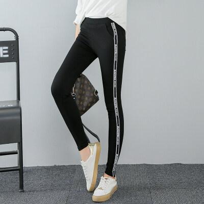 黑色裤女紧身小脚裤织带拼接魔术裤修身弹力橡筋腰打底运动休闲裤