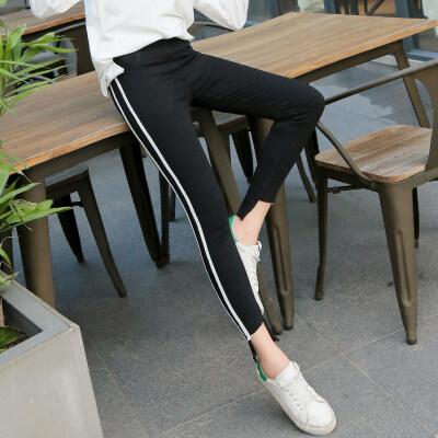 黑色裤子女生打底裤织带拼接外穿小脚裤韩版修身百搭不规则魔术裤