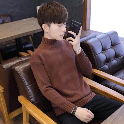 秋冬男士高领毛衣韩版修身纯色针织衫套头打底衫男线衣潮G115