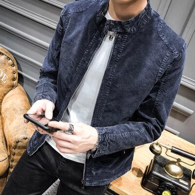 2018秋冬新款夹克外套 韩版修身时尚纯色皮衣夹克