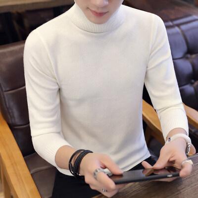 韩版纯色男士高领毛衣秋季长袖修身针织线衣打底T恤潮889-1