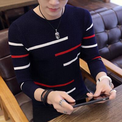 秋季新款男士V领毛衣韩版时尚打底衫套头针织衫青年修身线衣836