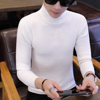 秋冬季高领毛衣男士线衫韩版修身打底针织衫纯色潮流男装衣服886