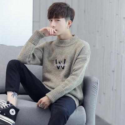 秋冬款圆领毛衣外套加厚学生韩版男士针织衫冬季帅气线衣920
