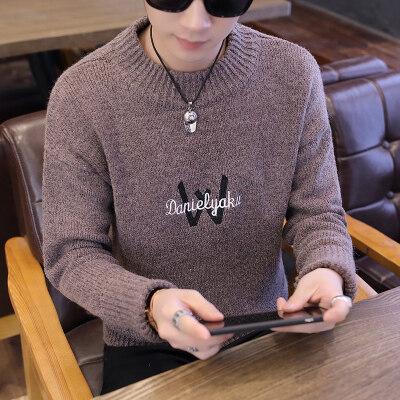 秋冬款圆领毛衣外套加厚学生韩版男士针织衫冬季帅气线衣920-1