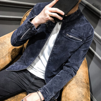 2018秋冬新款夹克纯色 修身 水洗夹克 立领皮衣外套
