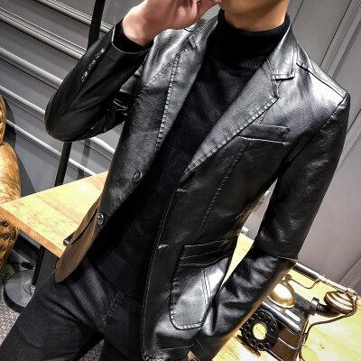 2018秋冬 新款皮衣外套时尚修生小西装皮衣