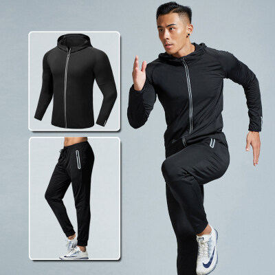 健身服男跑步运动套装健身房训练速干外套紧身衣九分裤两件套秋季