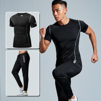 健身服男跑步运动套装健身房训练速干短袖紧身衣春夏季长裤两件套