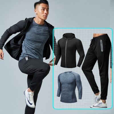 健身套装男士三件套跑步运动套装健身服健身房训练服速干紧身衣秋