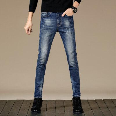 牛仔裤男修身型小脚蓝色弹力简约青年休闲韩版男士长裤子