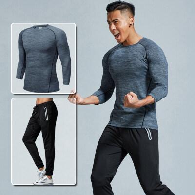 运动套装男健身服套装休闲运动服运动装跑步速干运动衣两件套秋季