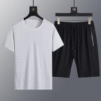 M-8XL冰丝套装男夏季两件套休闲运动服圆领短袖T恤+五分裤