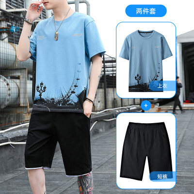 2021新款短套休闲运动套装男夏季短袖T恤短裤男士套装
