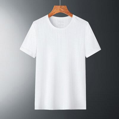 冰丝短袖男夏季超薄款宽松网眼半袖速干纯色透气运动空调上衣