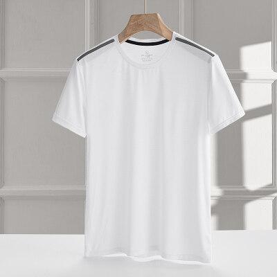 2021新款冰丝短袖t恤男夏天薄款纯色休闲运动速干短T可压标